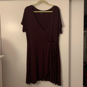 Burgundy Faux Wrap Dress